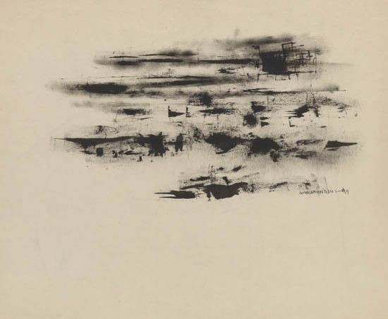 NORMAN LEWIS (1909 - 1979) Untitled (Black Abstraction).