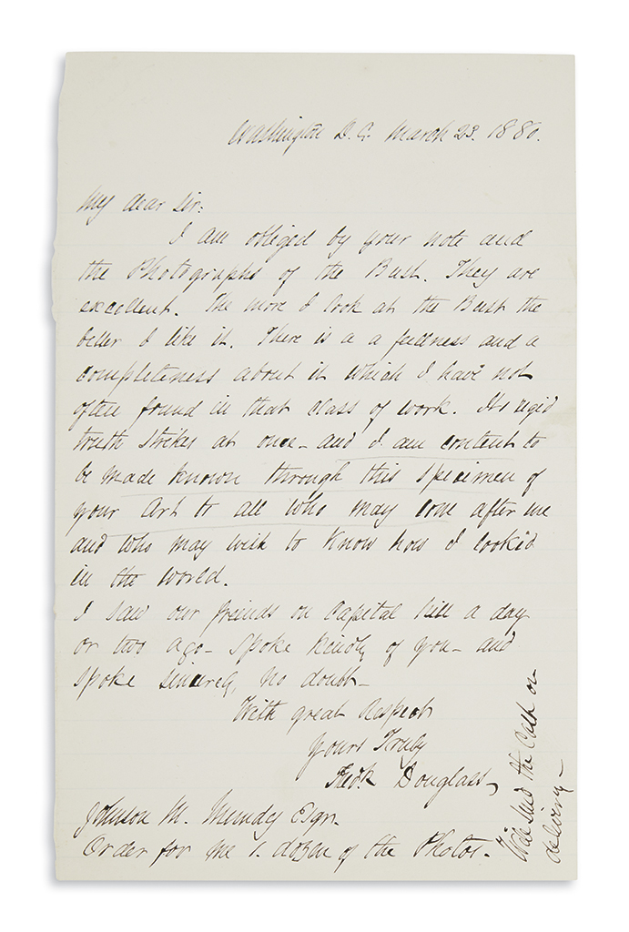 DOUGLASS, FREDERICK. Letter to the sculptor of his well-known bust, praising the work.