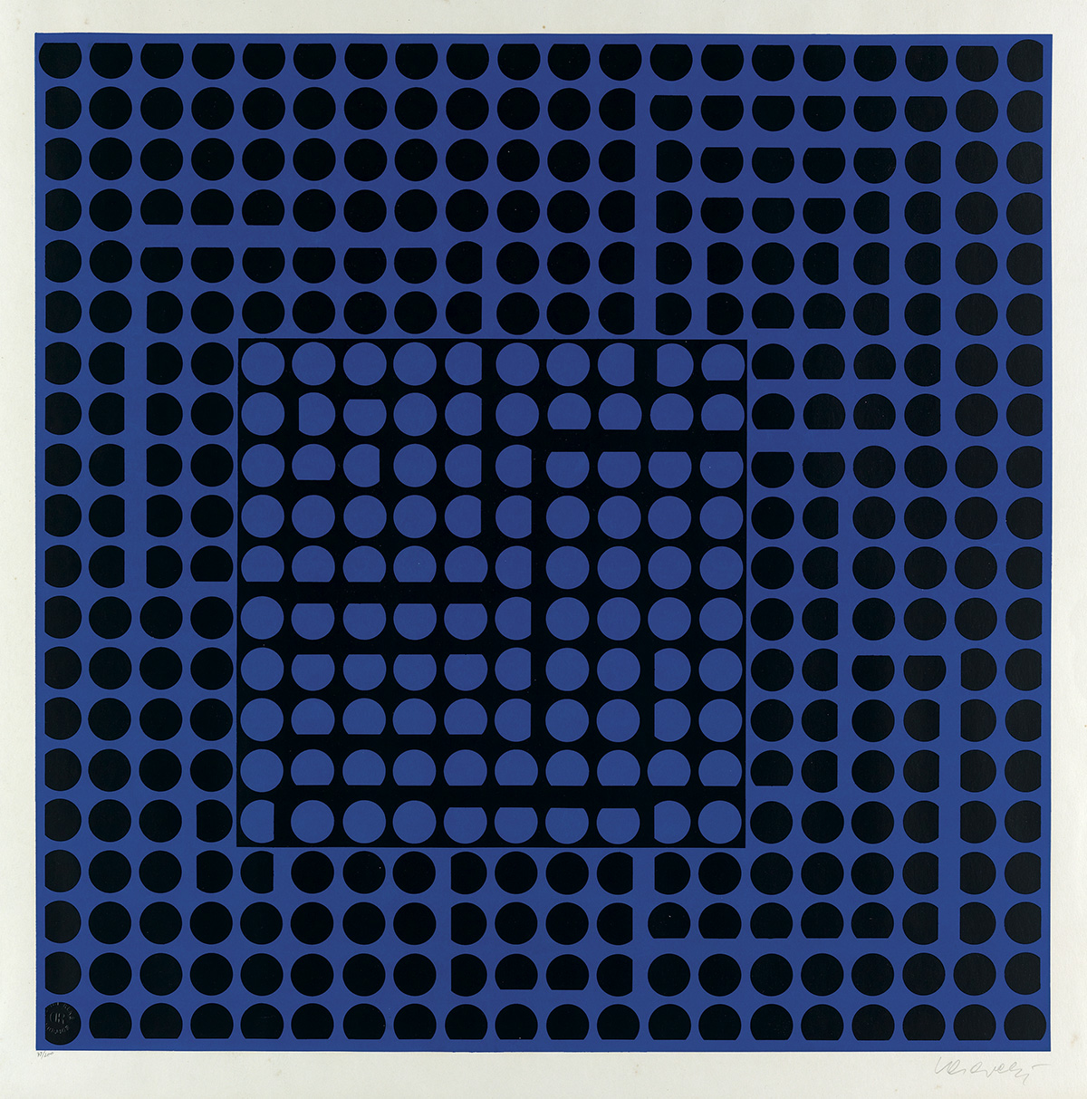 VICTOR-VASARELY-Composition-(Noir-et-Bleu)