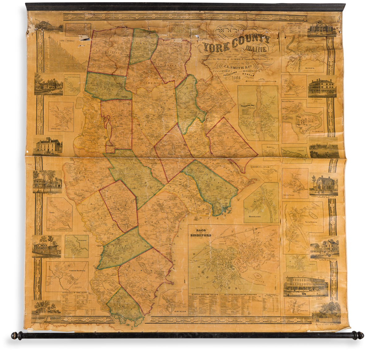 (MAINE.) J. Chase, Jr. Map of York County Maine.