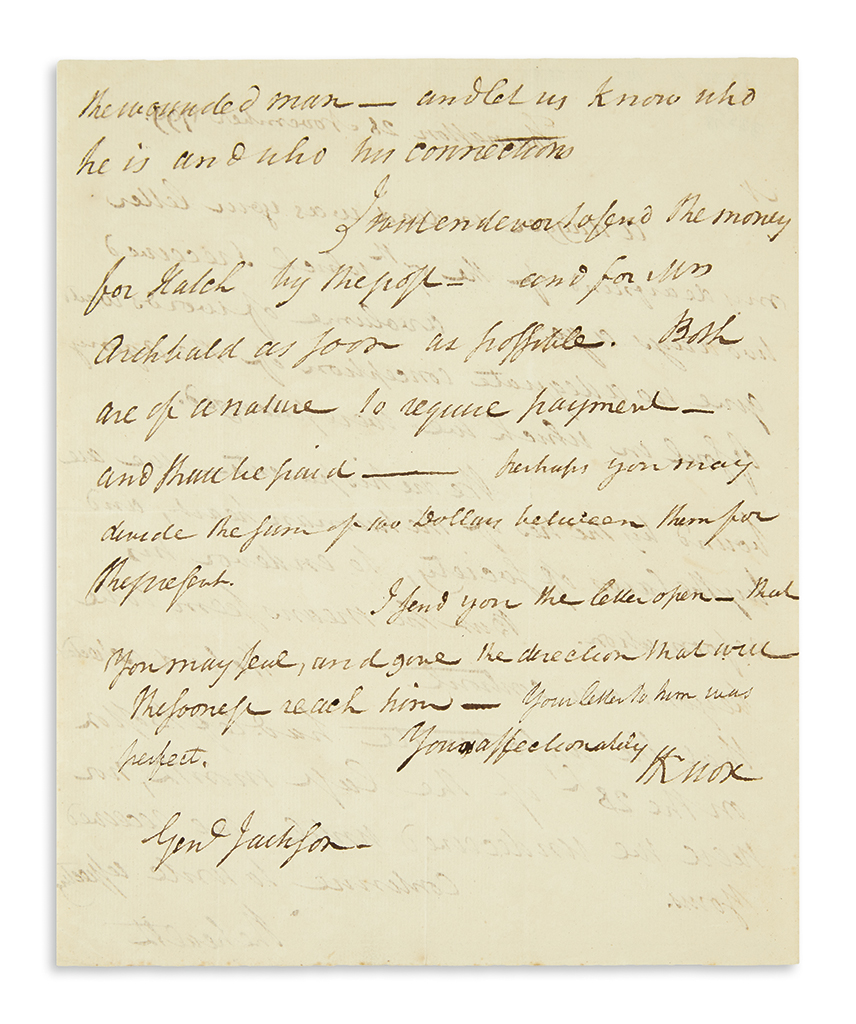 KNOX, HENRY. Autograph Letter Signed, HKnox, to Major General Henry Jackson,