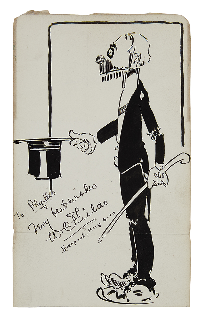 FIELDS, W.C. Ink drawing Signed and Inscribed, To Phyllis / Very best wishes, self-caricature, showing him as a clown