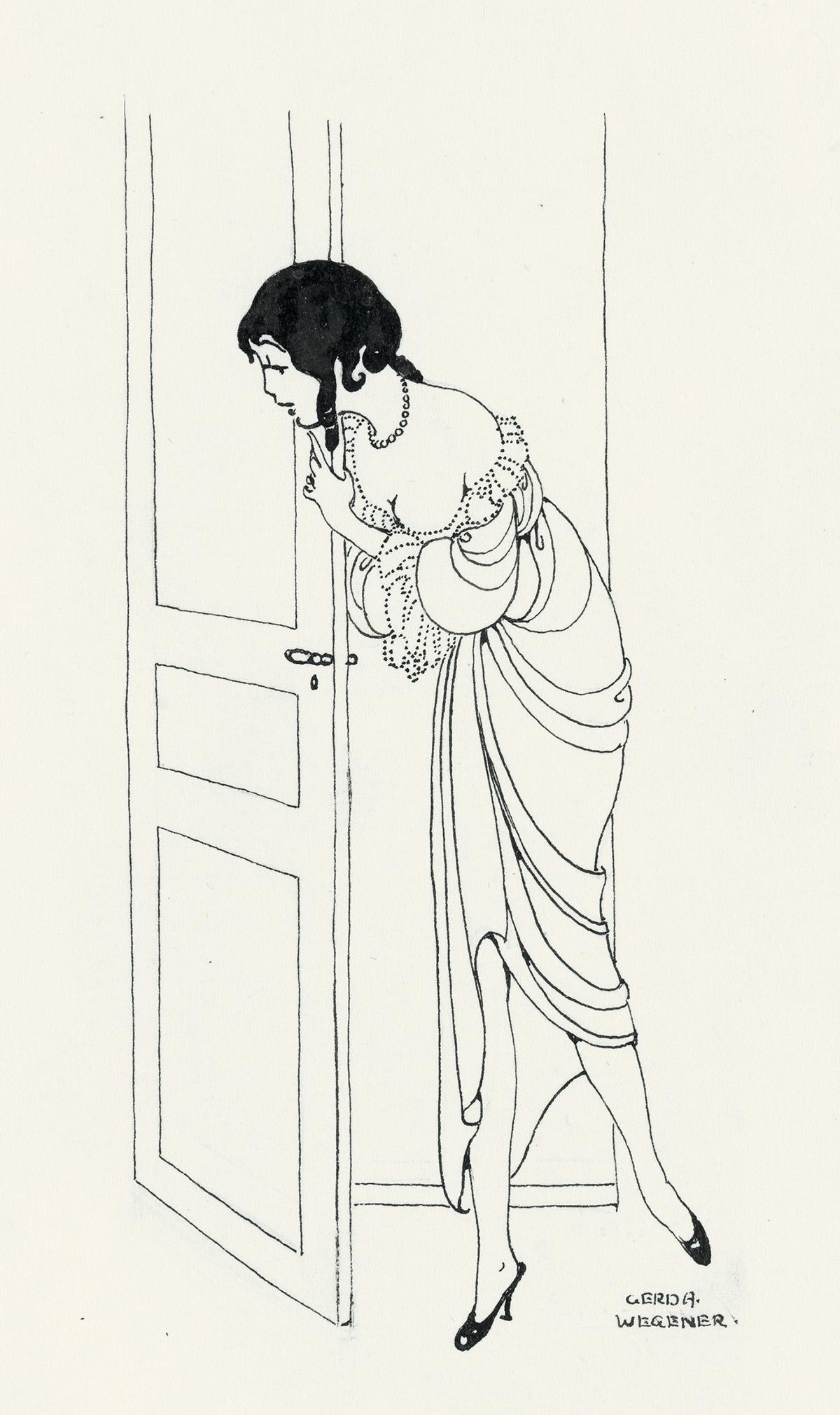 ADVERTISING FASHION GERDA WEGENER. Peeking around the door * Woman à la toilette.