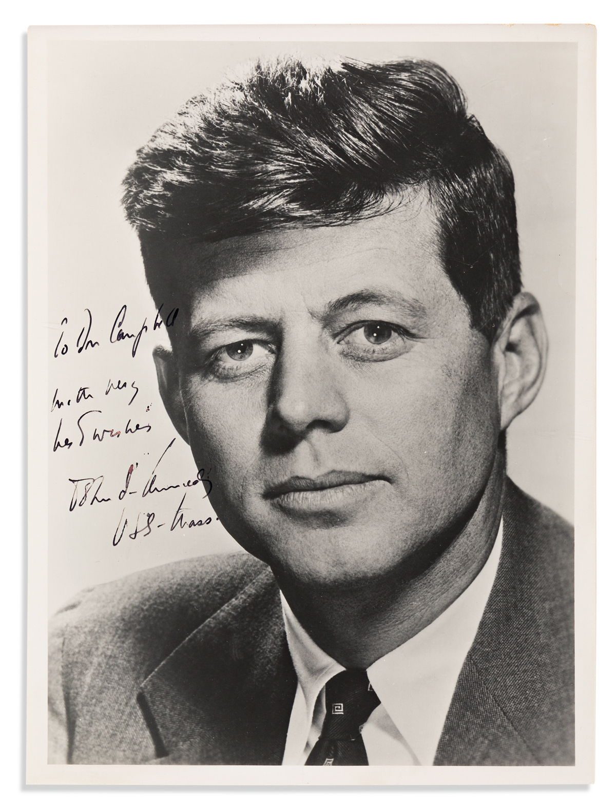 KENNEDY, JOHN F. Photograph Signed and Inscribed, as Senator, To Don Campbell / with very / best wishes / John F. Kennedy / USS-Mass,