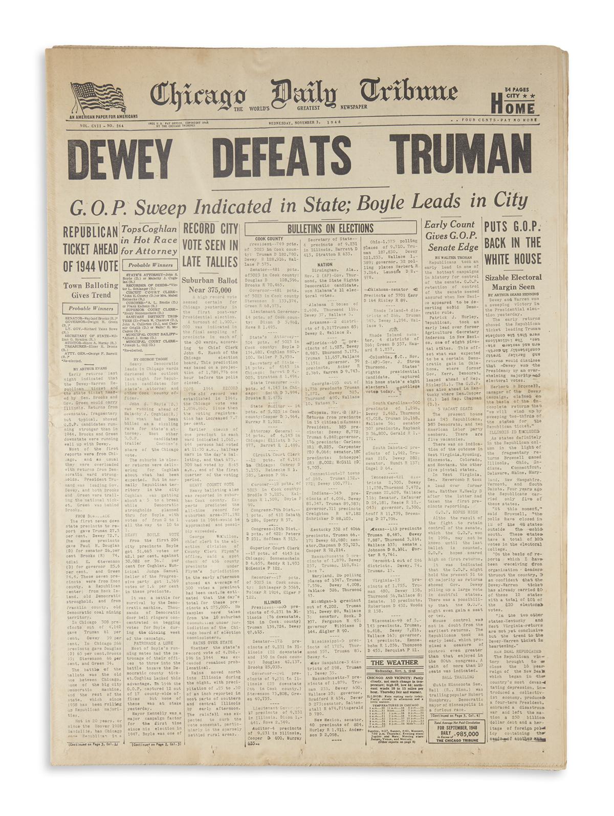 (TRUMAN, HARRY S.) Chicago Daily Tribune.