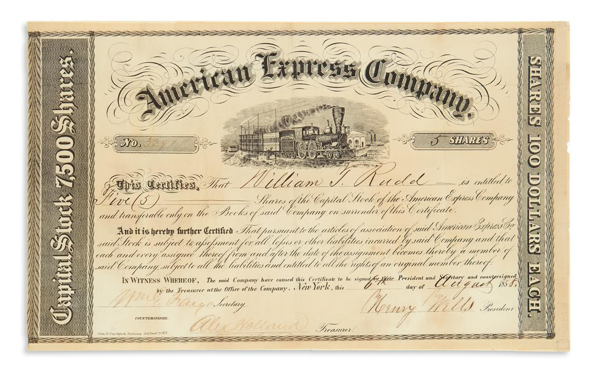 WELLS, HENRY; AND WILLIAM GEORGE FARGO. Partly-printed Document Signed, by both (Henry Wells, as President, and WmG. Fargo, as Secr