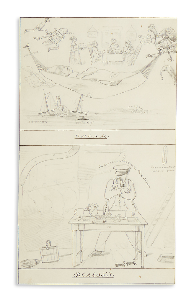 (CIVIL WAR--NAVY.) Belknap, Thomas. Group of letters and drawings done aboard the USS Octorara in Mobile Bay.