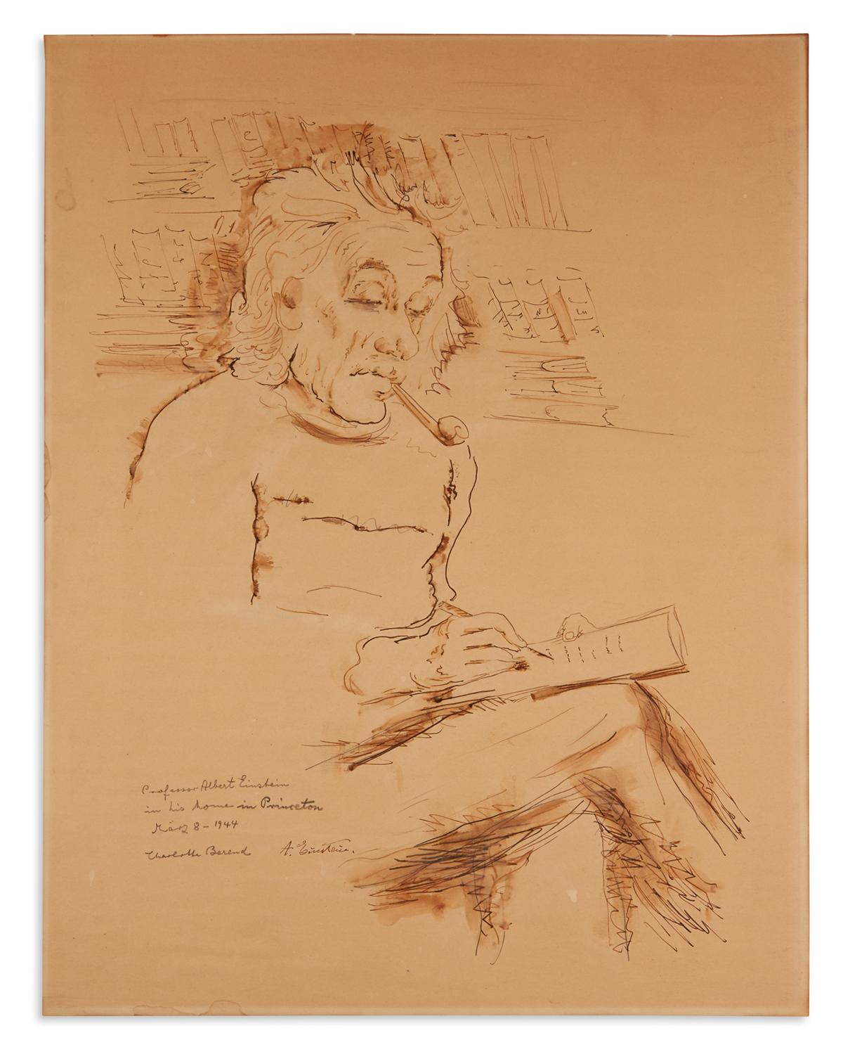 (SCIENTISTS.) EINSTEIN, ALBERT. Half-length portrait in ink and wash by Charlotte Berend-Corinth Signed at lower left, A. Einstein, s