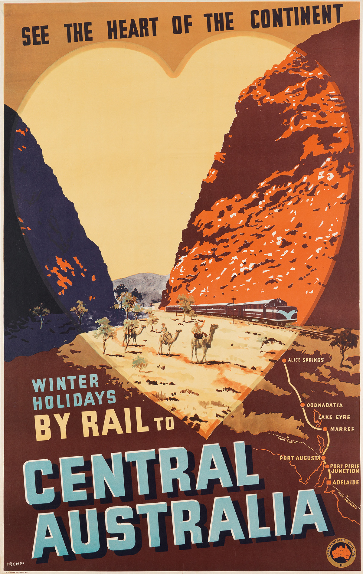 PERCIVAL-(PERCY)-ALBERT-TROMPF-(1902-1964)-WINTER-HOLIDAYS-BY-RAIL-TO-CENTRAL-AUSTRALIA-Circa-1950s-39x25-inches-100x63-cm-AC-Br