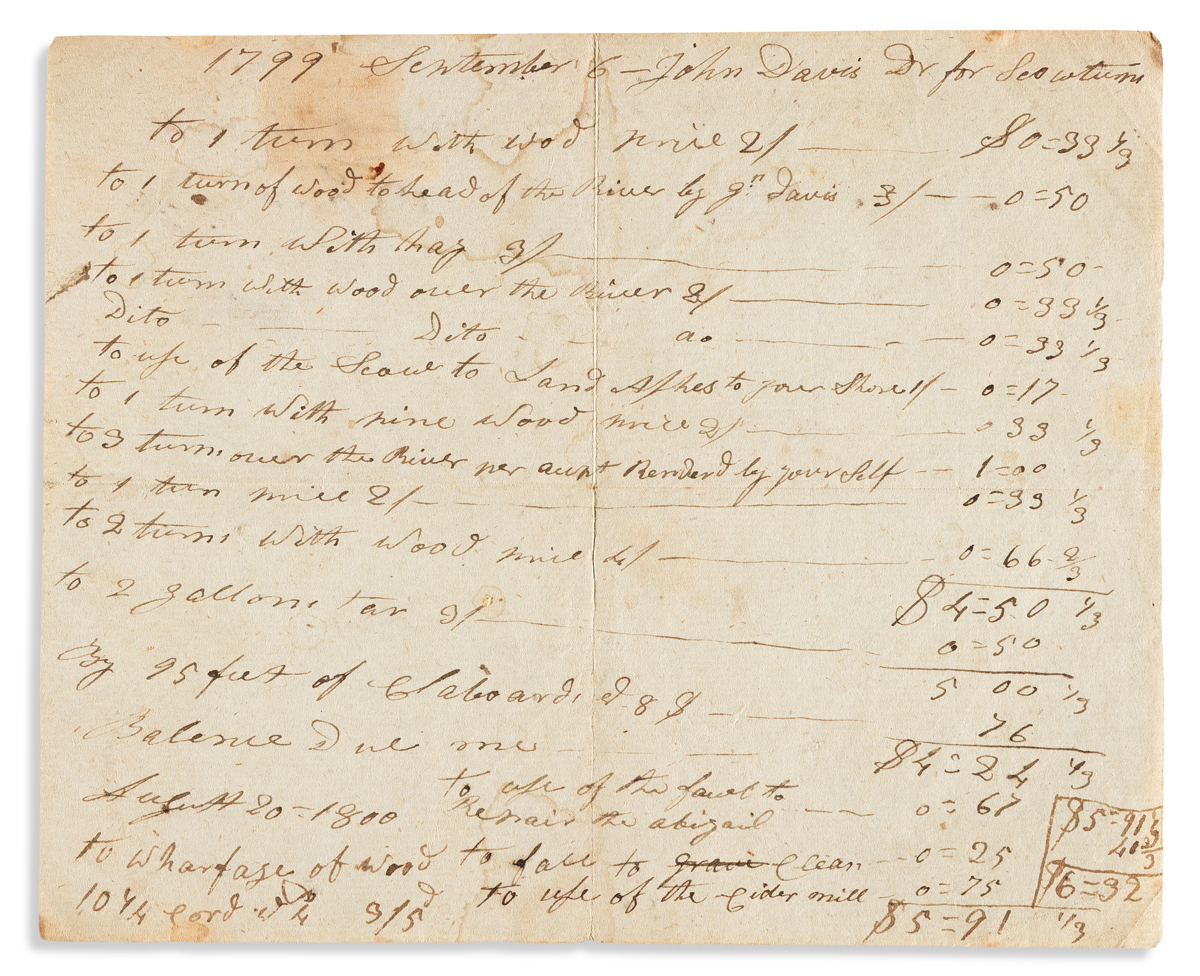 (BUSINESS.) Paul Cuffe. Invoice drawn up and signed by perhaps the young nations leading Black merchant.