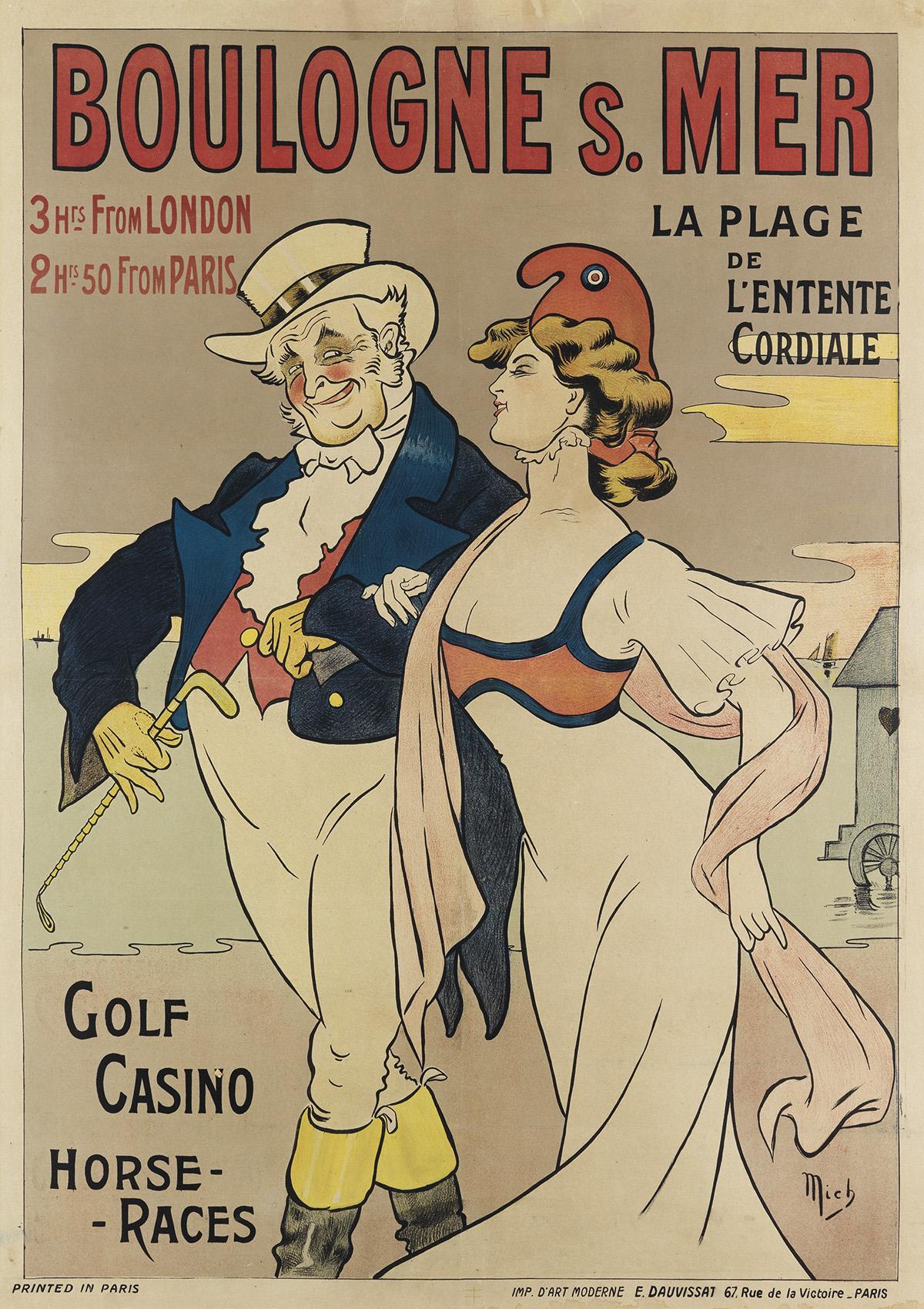 MICH (MICHEL LIEBEAUX, 1881-1923). BOULOGNE S. MER. Circa 1900. 41x29 inches, 106x74 cm. E. Dauvissat, Paris.