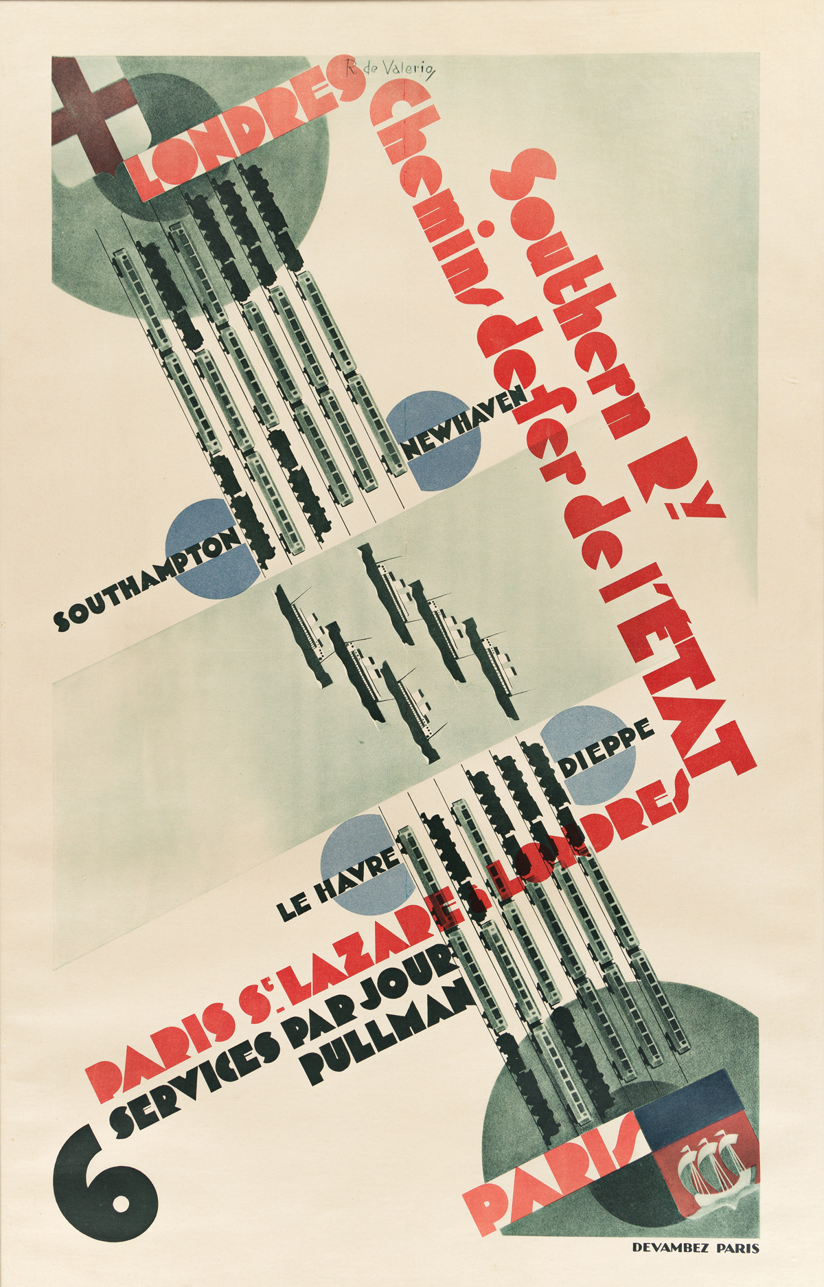 ROGER DE VALÉRIO (1896-1951).  LONDRES / PARIS / SOUTHERN RY CHEMIN DE FER DE LETAT. 41x26 inches, 104¼x66 cm. Devambez, Paris.