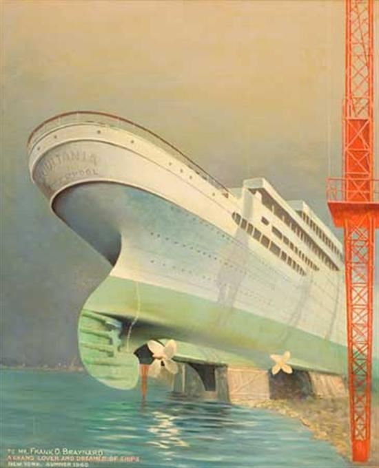 """(CUNARD LINE.) """"Aquitania."""" Untitled oil on board by George Tamaro, showing the ship in dry dock, 29AF1/2..."""