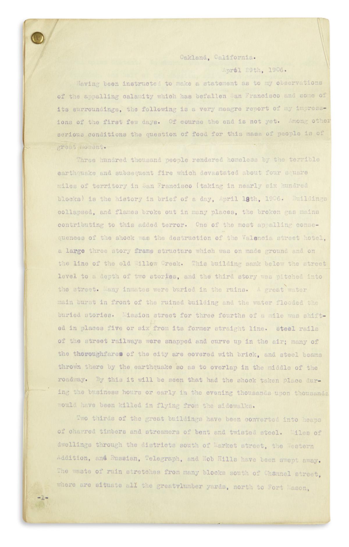 (CALIFORNIA.) Wilhelm, Thomas. Detailed report on the 1906 San Francisco Earthquake.