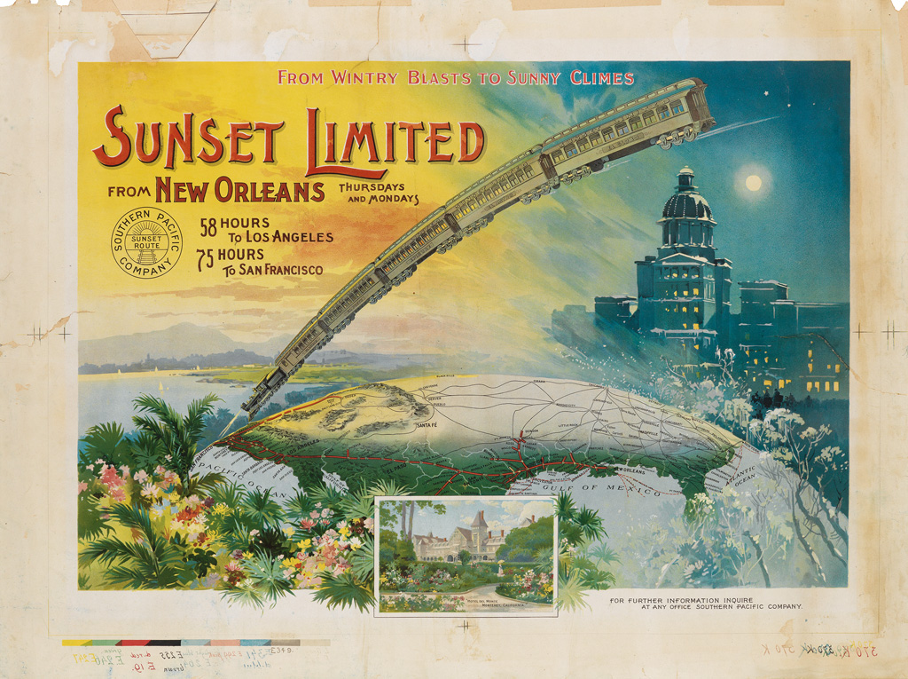 DESIGNER UNKNOWN. SUNSET LIMITED / FROM WINTRY BLASTS TO SUNNY CLIMES. Circa 1896. 23x30 inches, 58x78 cm.