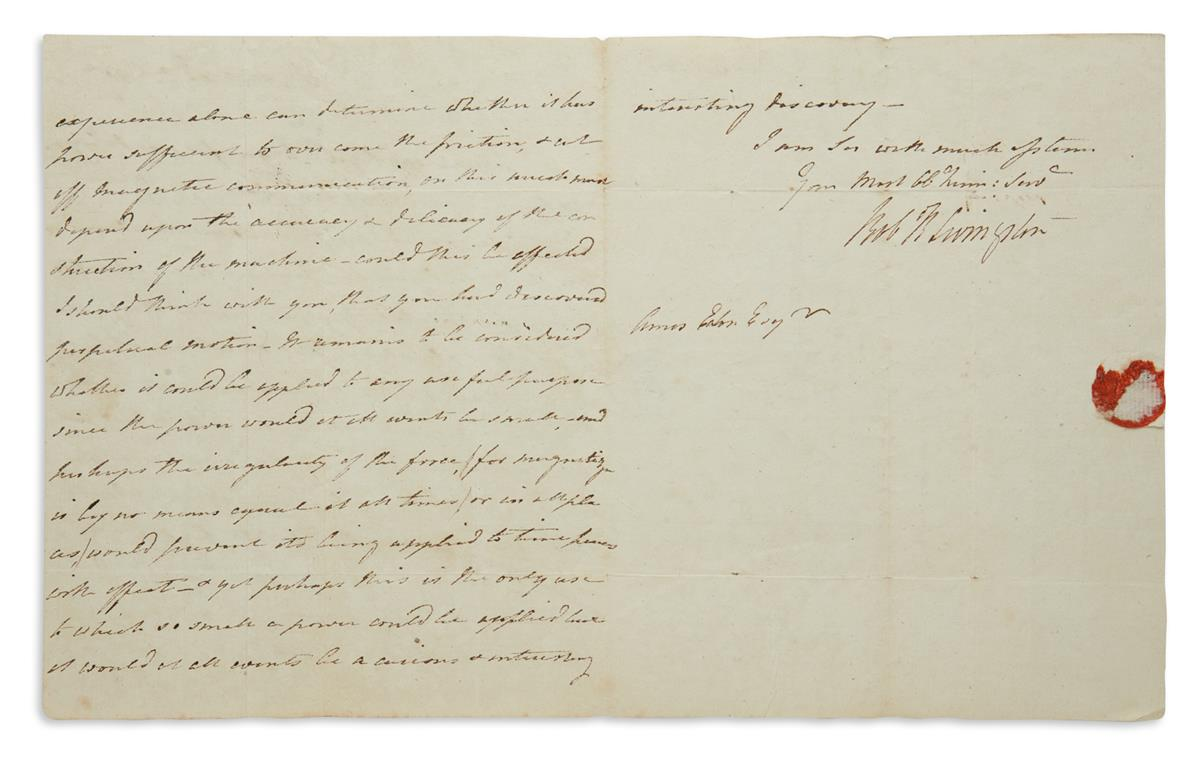 I SHOULD THINK WITH YOU THAT YOU HAD DISCOVERED PERPETUAL MOTION ROBERT R. LIVINGSTON. Autograph Letter Sig...