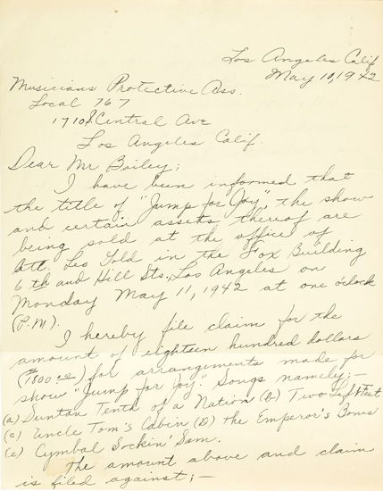 (MUSIC.) ELLINGTON, EDWARD KENNEDY DUKE. Autograph Letter Signed, to the Musicians Protective Association, Local 767.