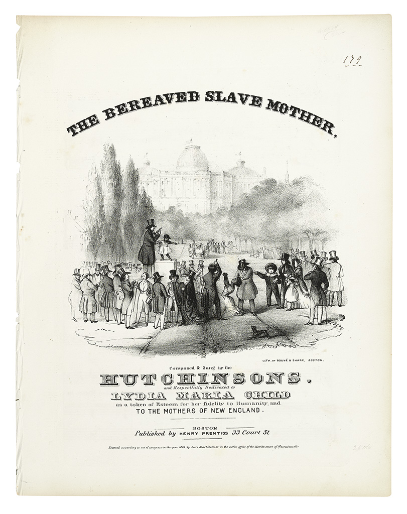 (MUSIC.) HUTCHINSON, JESSE JR AND FAMILY. The Bereaved Slave Mother.