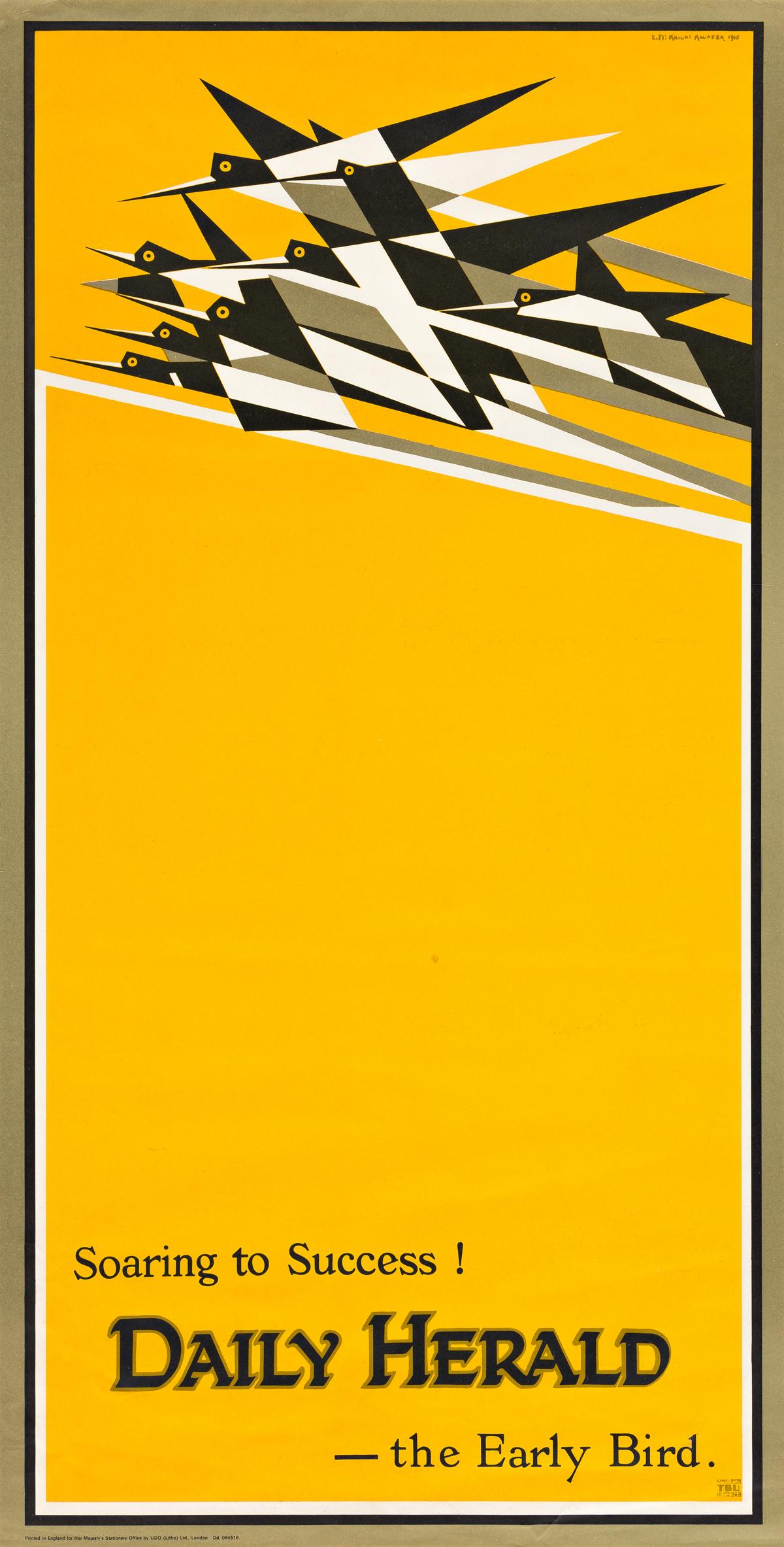 EDWARD MCKNIGHT KAUFFER (1890-1954).  SOARING TO SUCCESS! DAILY HERALD - THE EARLY BIRD. Circa 1963. 30x15½ inches, 76¼x39¼ cm. UDO Ltd