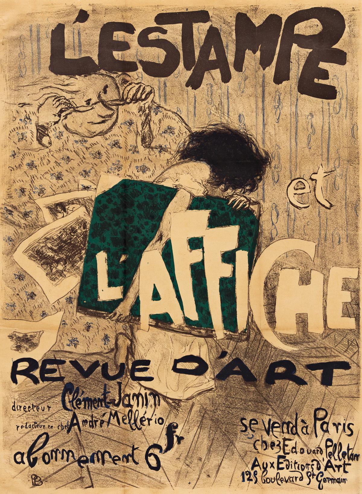 PIERRE BONNARD (1867-1947).  LESTAMPE ET LAFFICHE / REVUE DART. 1897. 32x23 inches, 82x60 cm. Editions dArt, Paris.