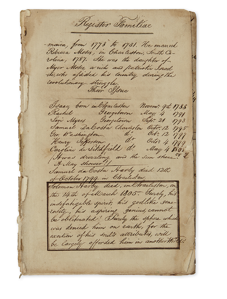 (JUDAICA.) Manuscript family register tracing eight generations of the extended Harby family of South Carolina.