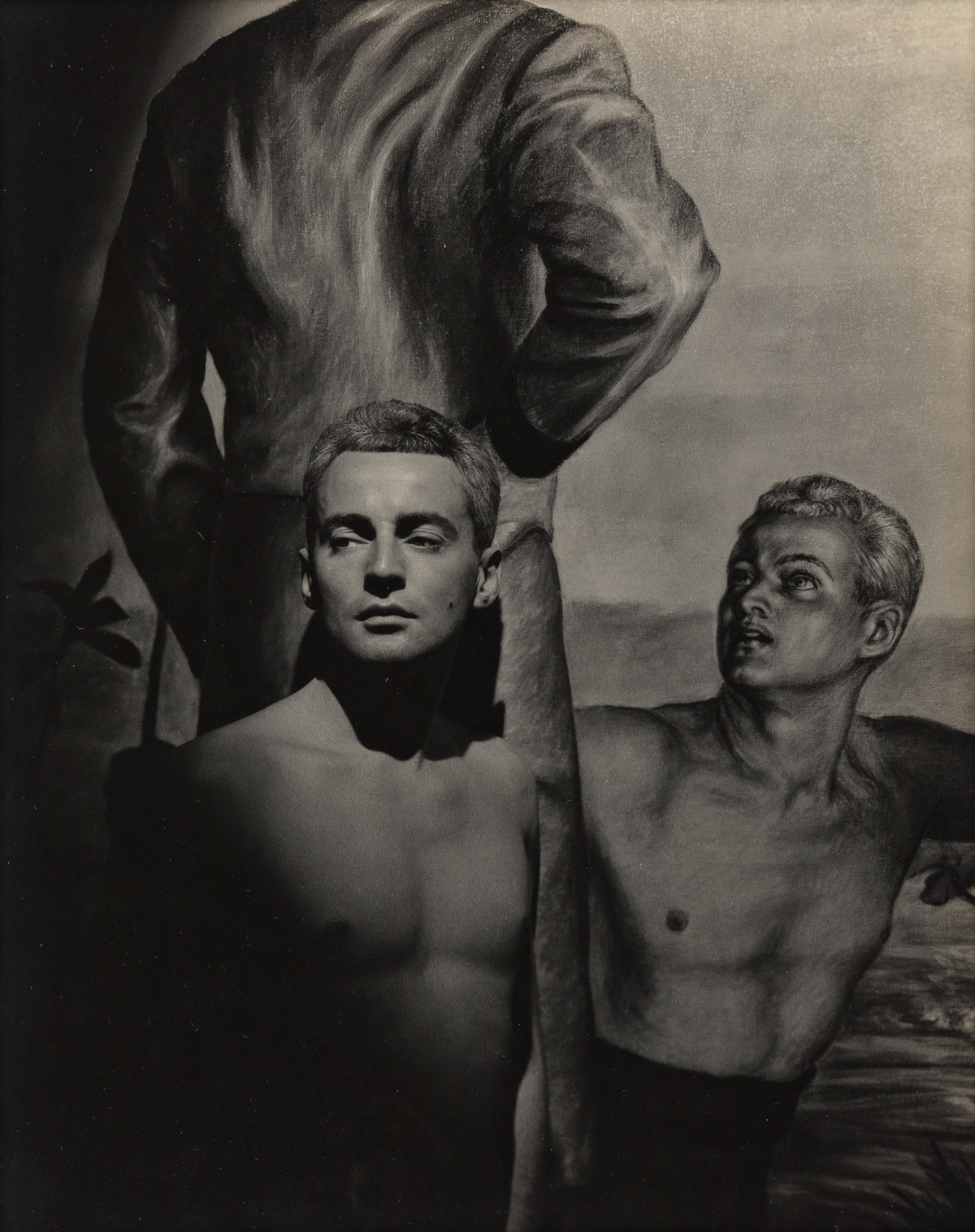 GEORGE PLATT LYNES (1907-1955) Self Portrait in front of Jared Frenchs mural Cavalrymen Crossing a River.