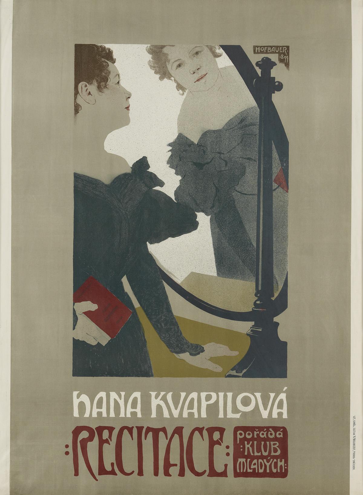 ARNOST HOFBAUER (1869-1944). HANA KVAPILOVA RECITACE. 1899. 43x32 inches, 110x82 cm. V. Neubert, Praha-Smichov.