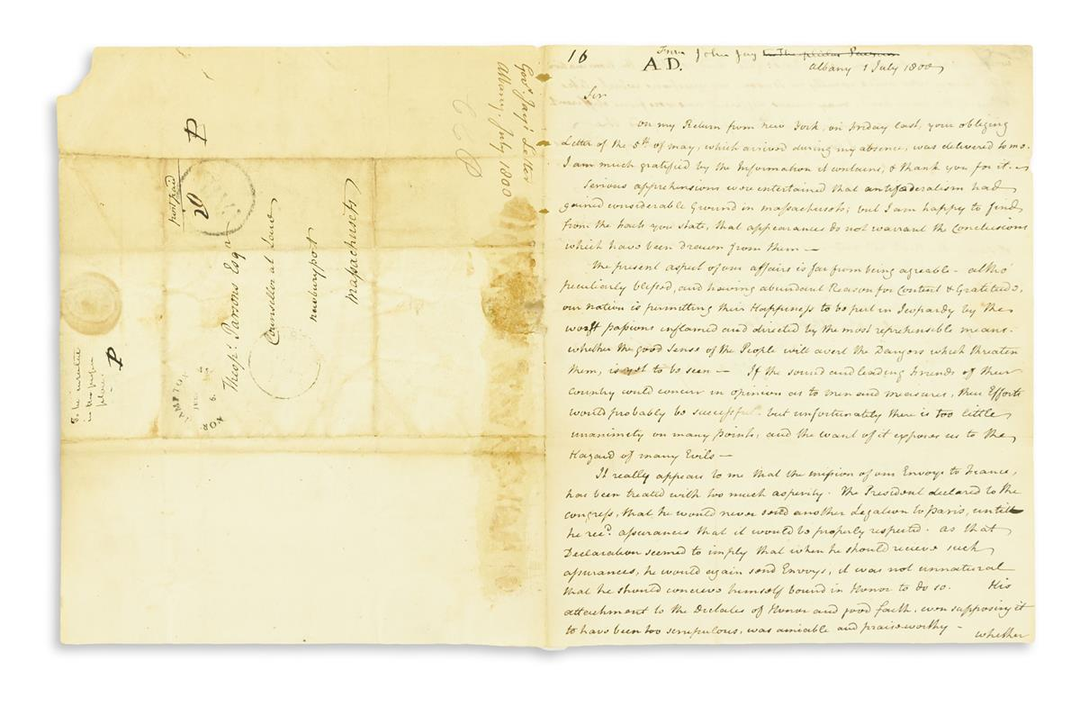 JAY, JOHN. Autograph Letter Signed, as Governor, to Theophilus Parsons,