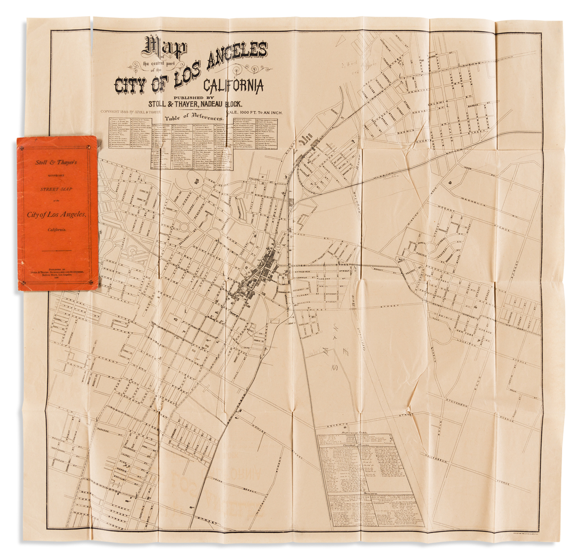 (CALIFORNIA.) Stoll, Simon; and J.S. Thayer. Map of the Central Part of the City of Los Angeles California.
