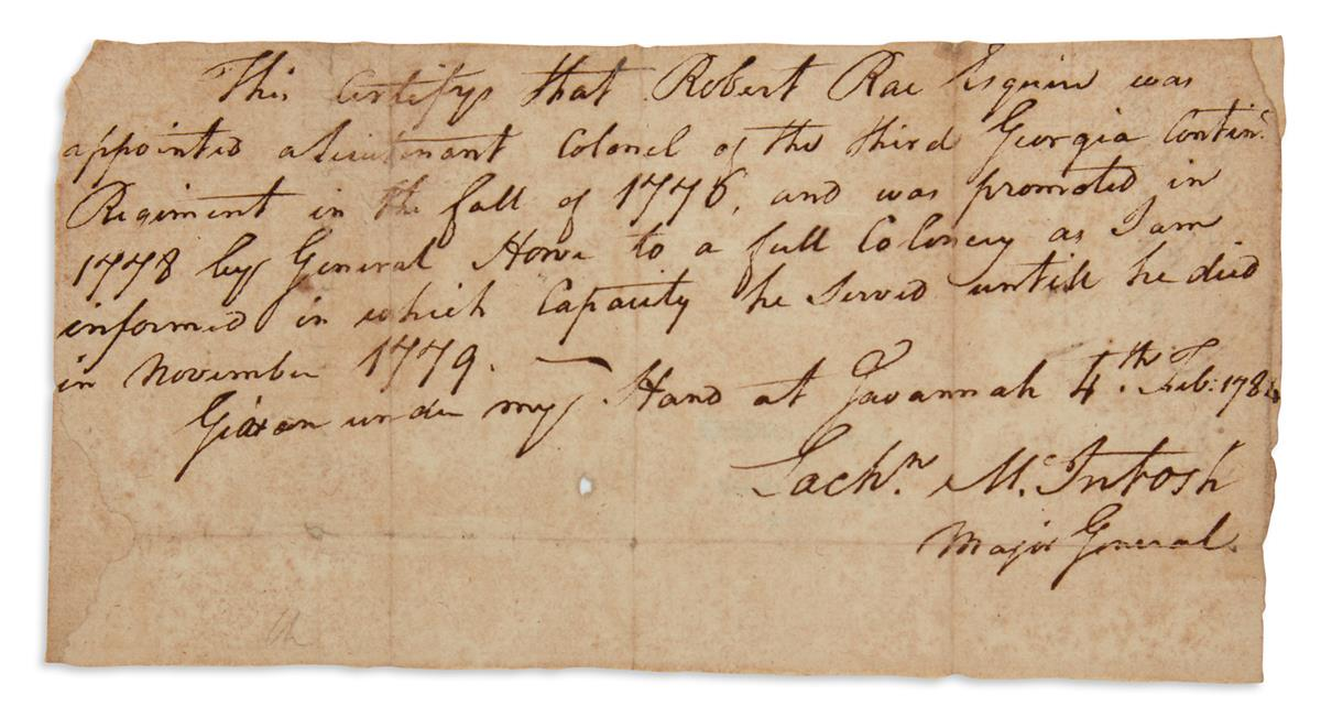KILLER OF BUTTON GWINNETT LACHLAN MCINTOSH. Autograph Document Signed, Lachn McIntosh / Major General,...
