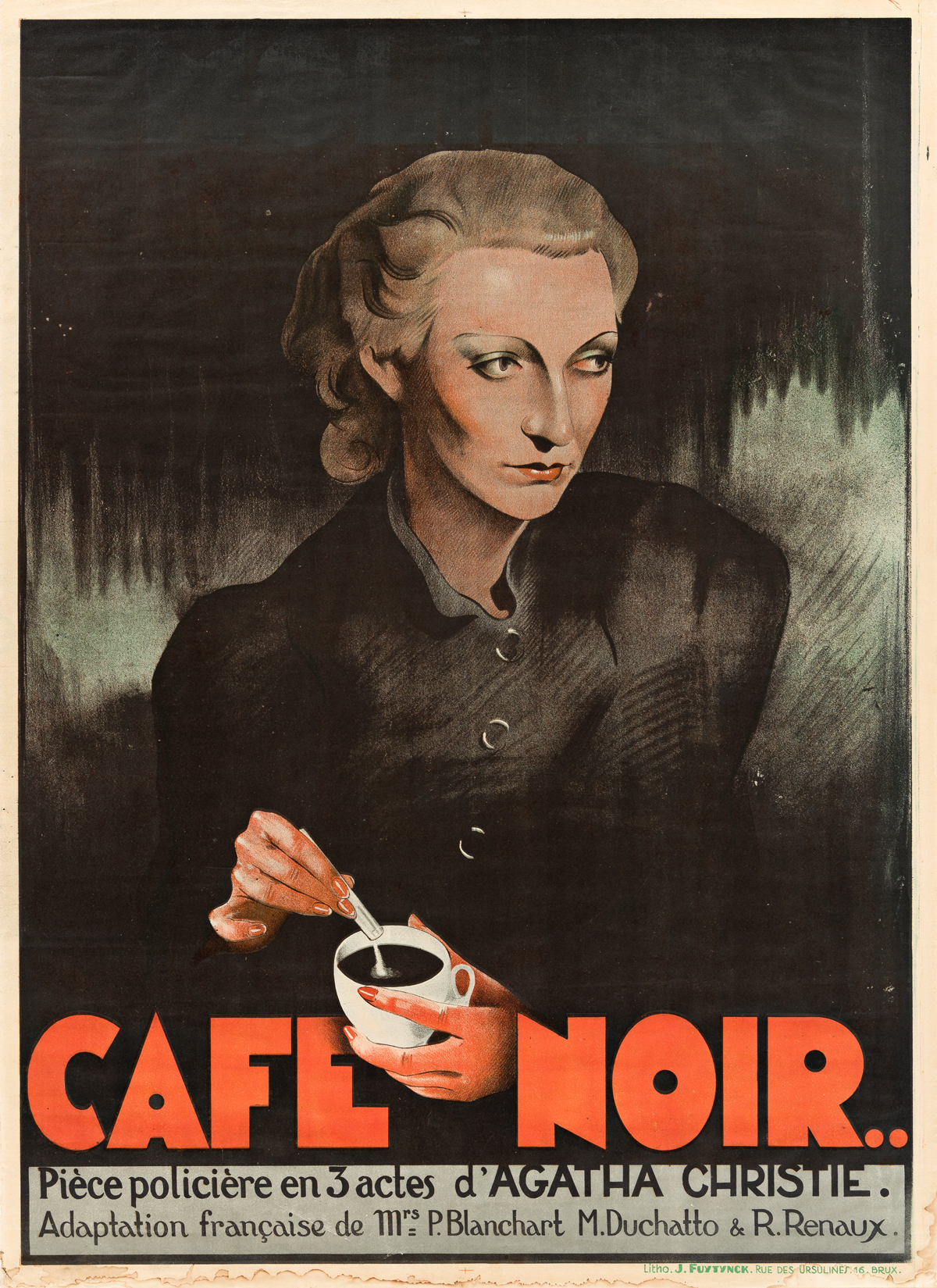 DESIGNER UNKNOWN.  CAFE NOIR / AGATHA CHRISTIE. 1938. 33½x24¼ inches, 85x61½ cm. J. Fuytynck, Brussels.