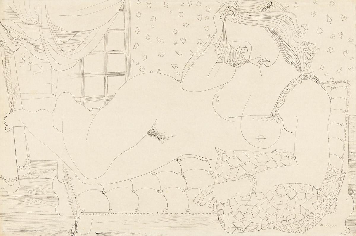 ROBERT BLACKBURN (1920 - 2003) Untitled (Reclining Nude).