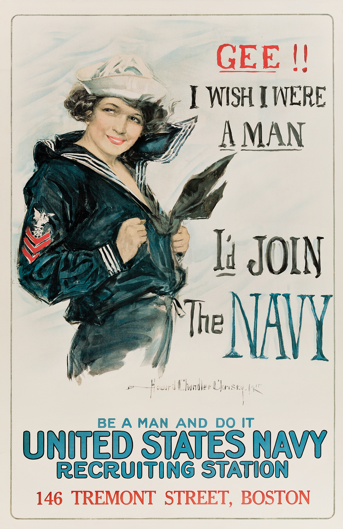 HOWARD-CHANDLER-CHRISTY-(1873-1952)-GEE-I-WISH-I-WERE-A-MAN--ID-JOIN-THE-NAVY-1918-41x27-inches-104x68-cm