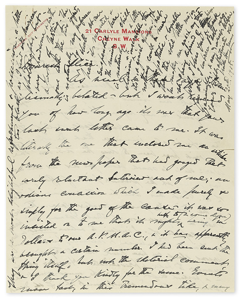JAMES, HENRY. Autograph Letter Signed, Uncle Henry James, to the wife of his nephew Mrs. William James (Dearest Alice),