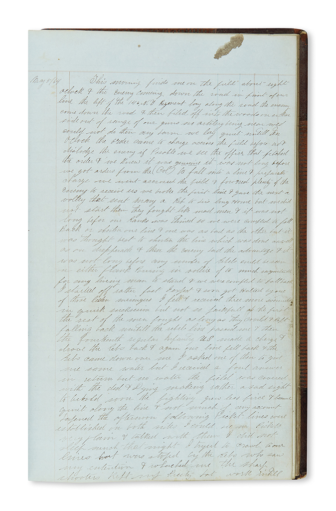 (CIVIL WAR--NEW YORK.) Pierce, Charles E. Manuscript narrative of the Battle of Wilderness and his time at Andersonville Prison.