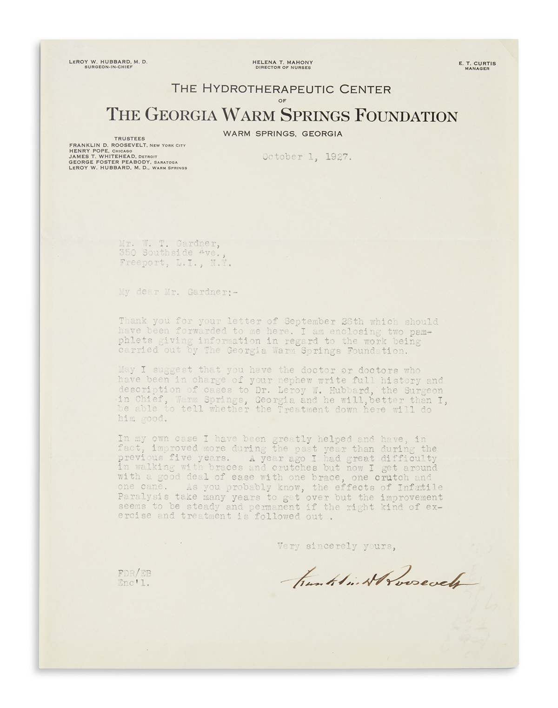 ROOSEVELT, FRANKLIN D. Typed Letter Signed, to W.T. Garner,