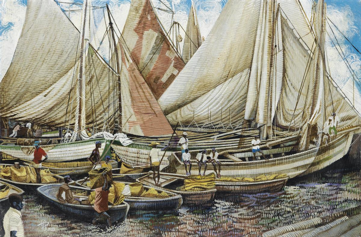 COLUMBUS KNOX (1923 - 1999) Haitian Dock Scene.