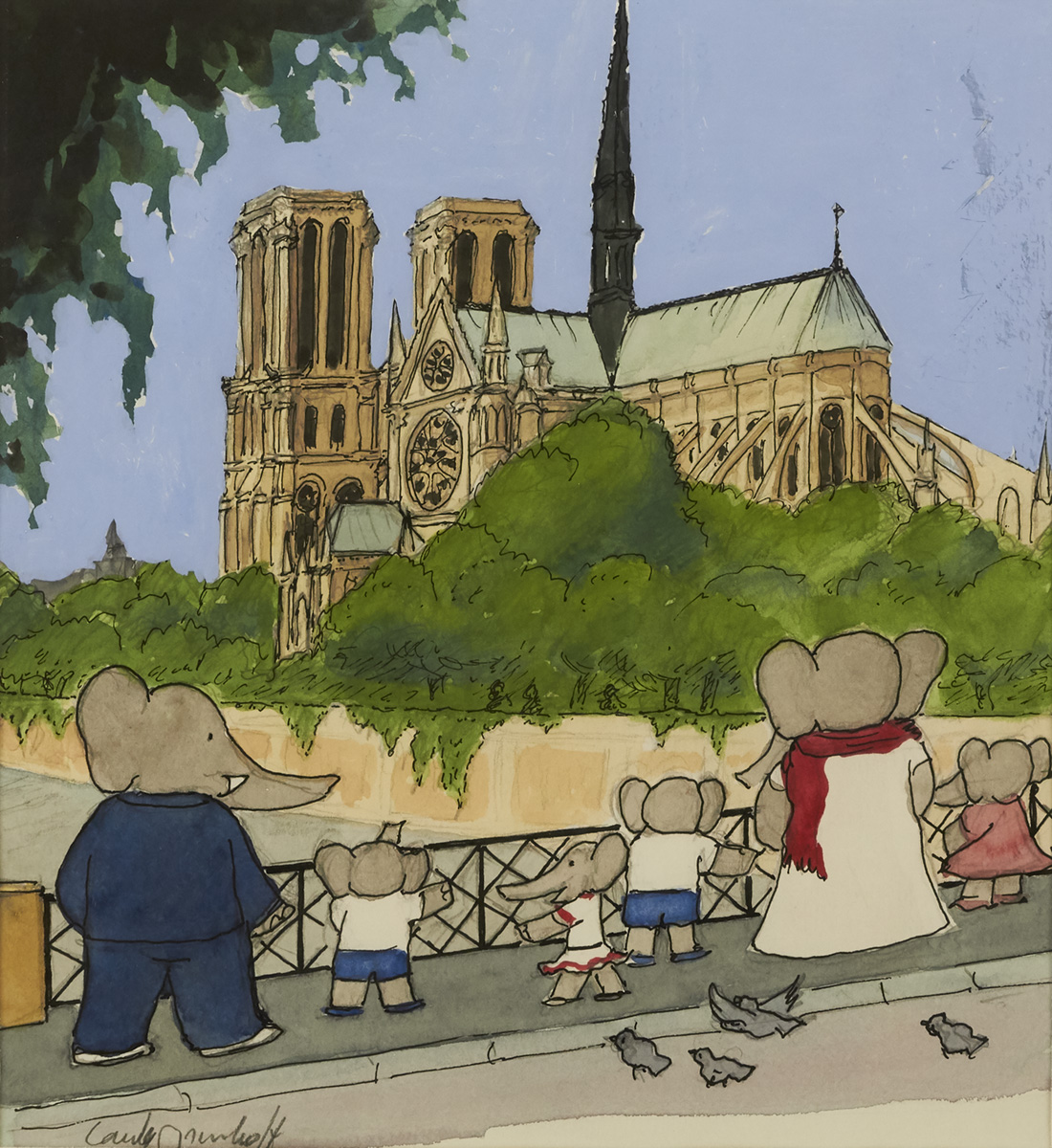 LAURENT DE BRUNHOFF. Babar took them to see the Cathedral of Notre Dame. [CHILDRENS / ELEPHANTS / FRANCE]