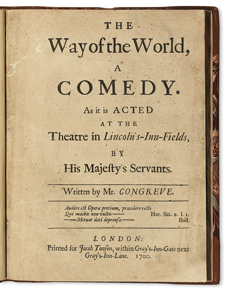 CONGREVE, WILLIAM. The Way of the World, A Comedy.  1700