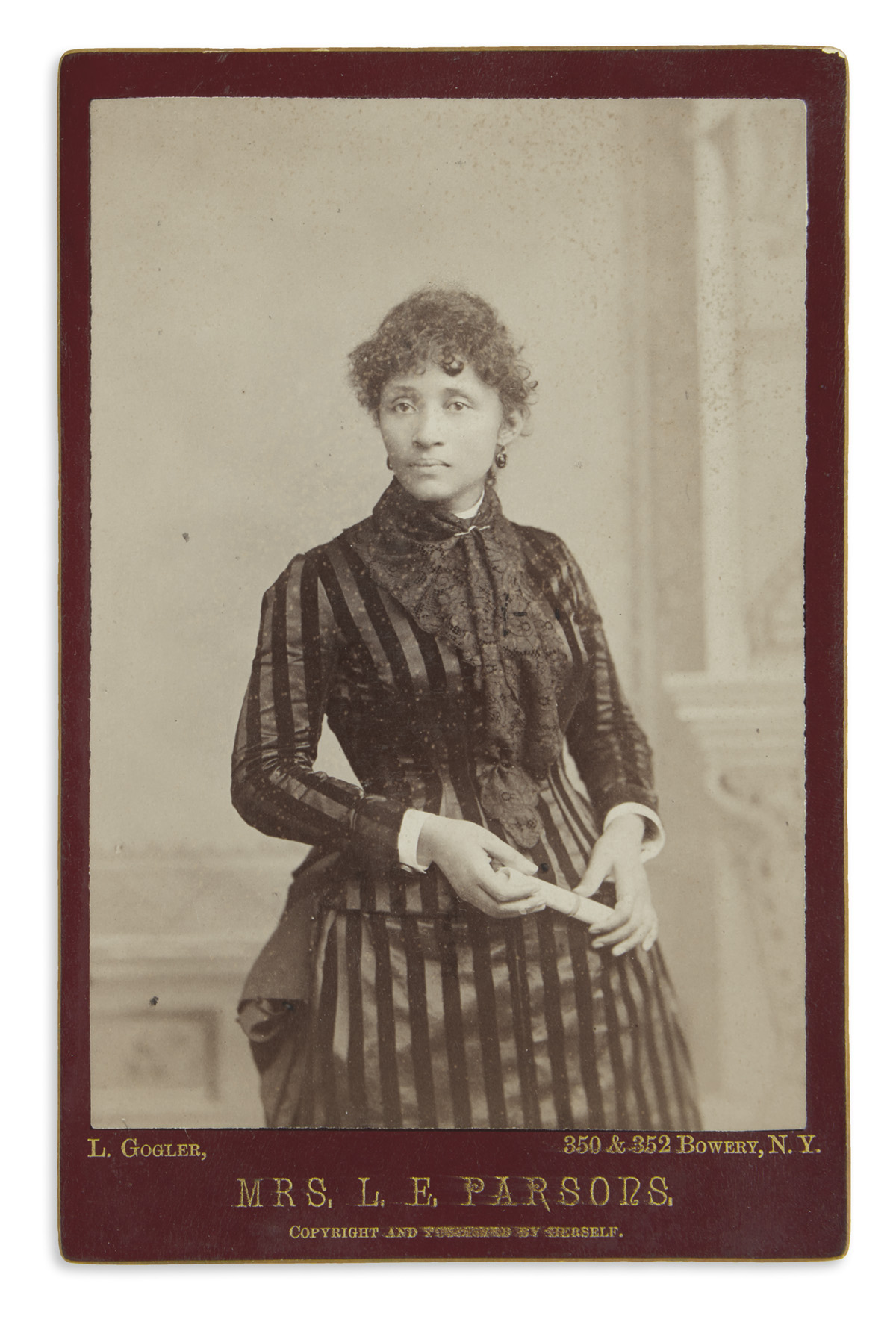 (RADICALISM.) Gogler, L.; photographer. Cabinet card of the labor organizer Lucy Parsons.