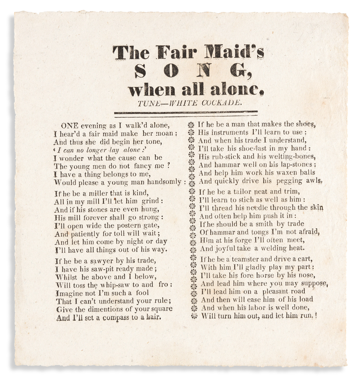 (EROTICA.) The Fair Maids Song, When All Alone.