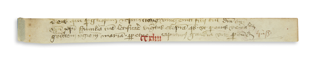 HUS, JAN. Signature, Huß, in the right margin of a vellum fragment from a manuscript Breviary,