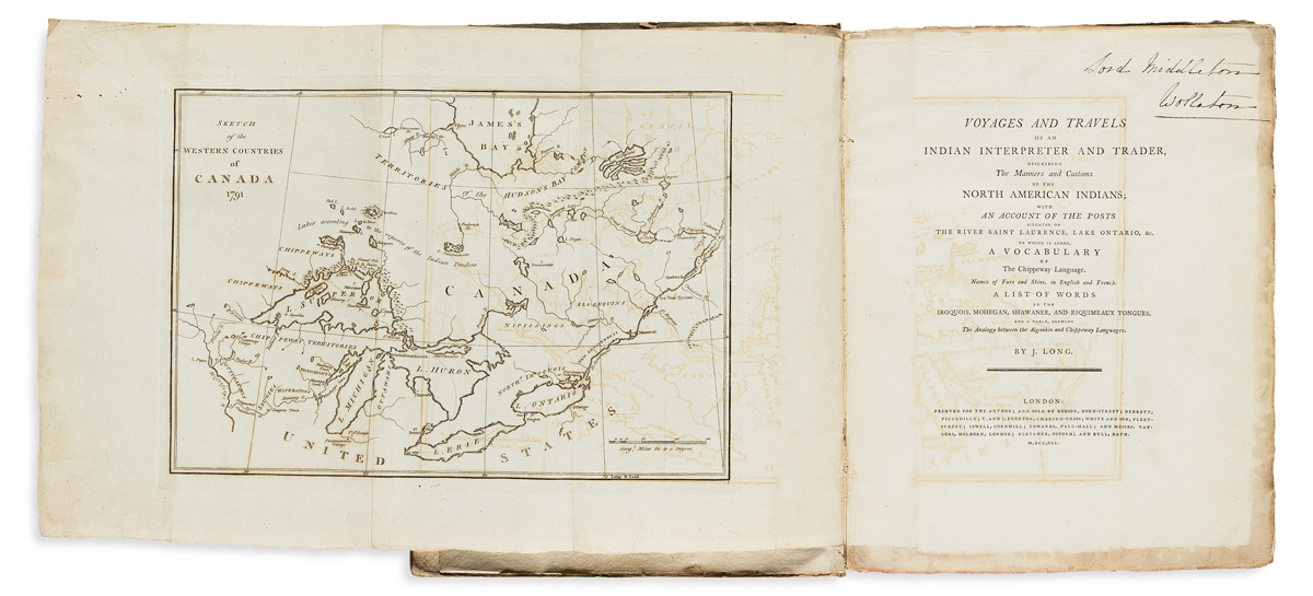 Long, John (fl. circa 1768-1791) Voyages and Travels of an Indian Interpreter and Trader, Describing the Manners and Customs of the Nor