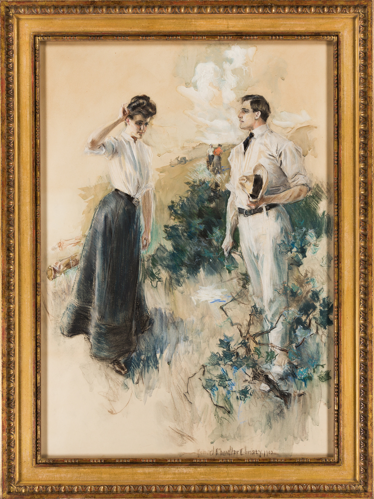 HOWARD CHANDLER CHRISTY (1872-1952) In the Field: He felt that he must take her in his arms . . . [SCRIBNERS / GOLF / WOMEN]