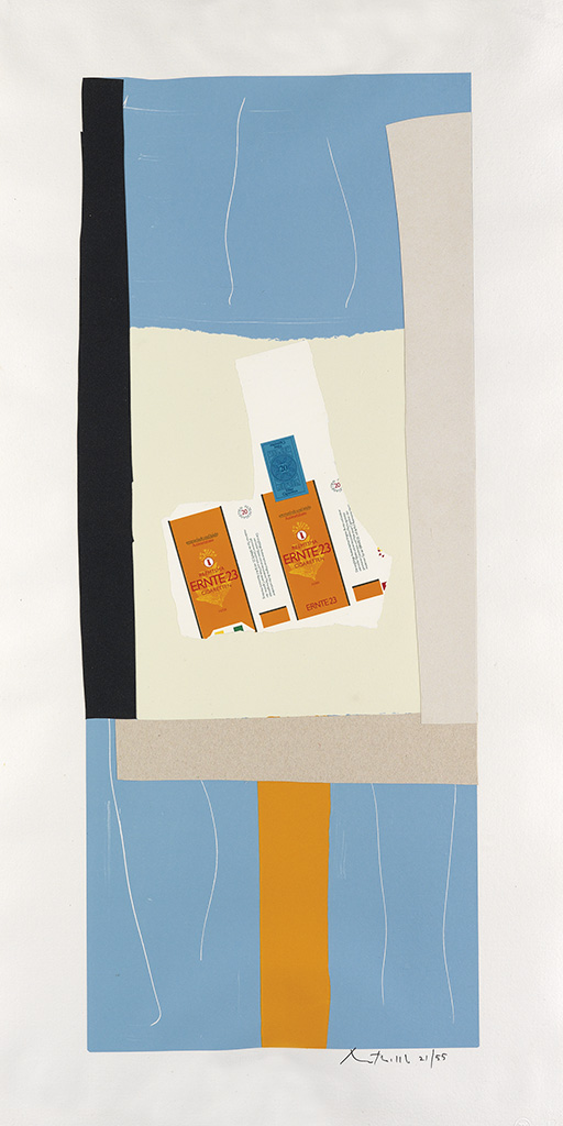 ROBERT MOTHERWELL Two color lithographs with collage from The Summer Light Series.