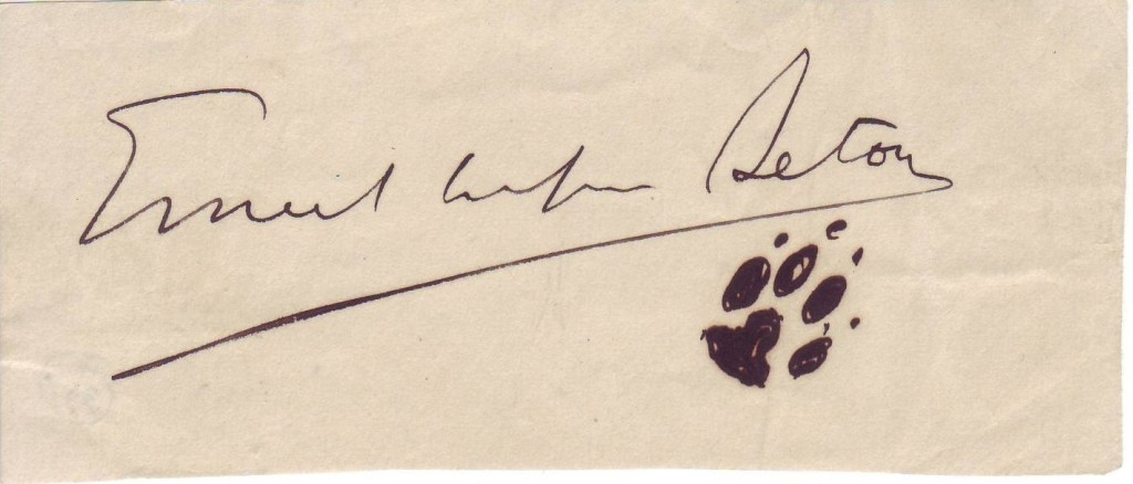 SETON-ERNEST-THOMPSON-Signature-with-small-ink-drawing-of-wo