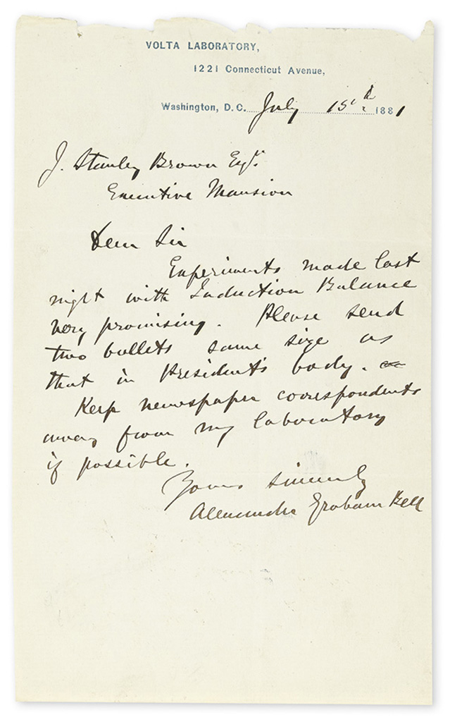 BELL, ALEXANDER GRAHAM. Two Autograph Letters Signed, to President Garfields private secretary J. Stanley Brown.