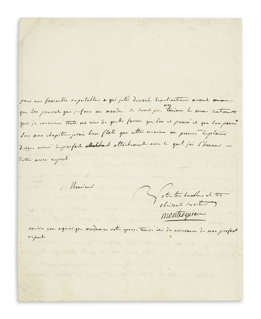 MONTESQUIEU, CHARLES DE SECONDAT. Autograph Letter Signed, Montesquieu, to the Marquis de Palarin, in French,