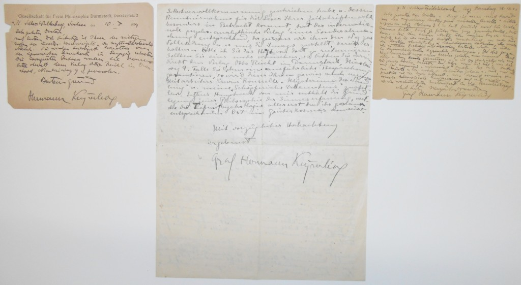KEYSERLING-HERMANN-Three-Autograph-Letters-Signed-Count-Herm