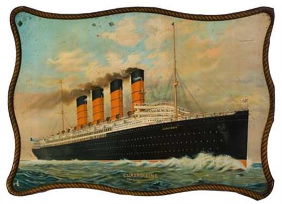 "(CUNARD LINE.) ""Lusitania."" Lusitania. Cunard Line New York Liverpool. Chromolithograph on tin, 28x39 inch..."